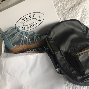 Combo Steve Madden Denim Wedge Shoes with backpack